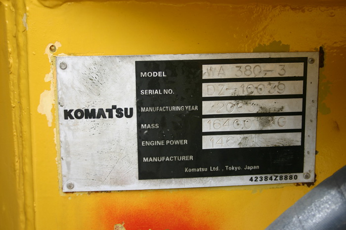 รถตักล้อยาง Wheel Loader KOMATSU WA380-3 p.8